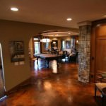 Ebony/Weathered Terracotta Acid Stained Basement Floor