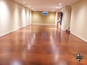 Mission Brown/Caramel Acid Stained Concrete Floor