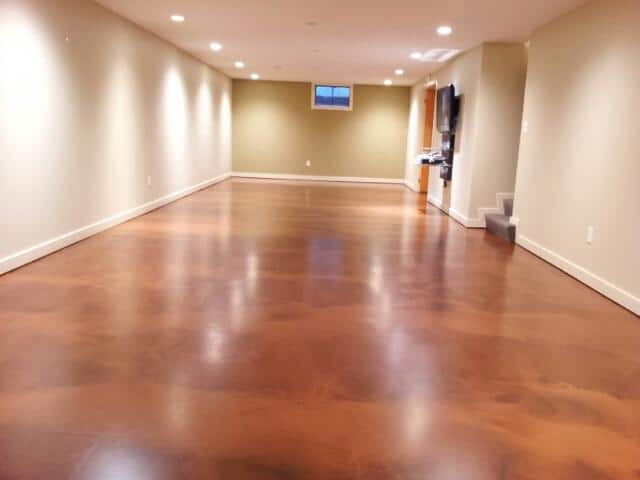 Mission Brown Caramel Acid Stained Concrete Floor