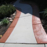 Delta Fog/Brick Red Solid Color Stained Entry Walk