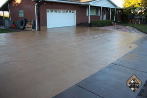 Sand Solid Color Stained Driveway