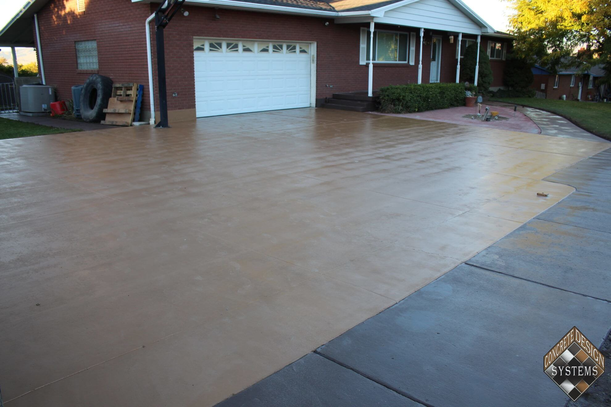 Sand Solid Color Stained Driveway Concrete Design
