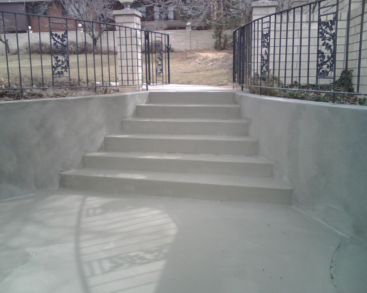 Standard Gray Overlay On Stairs Retaining Walls Concrete