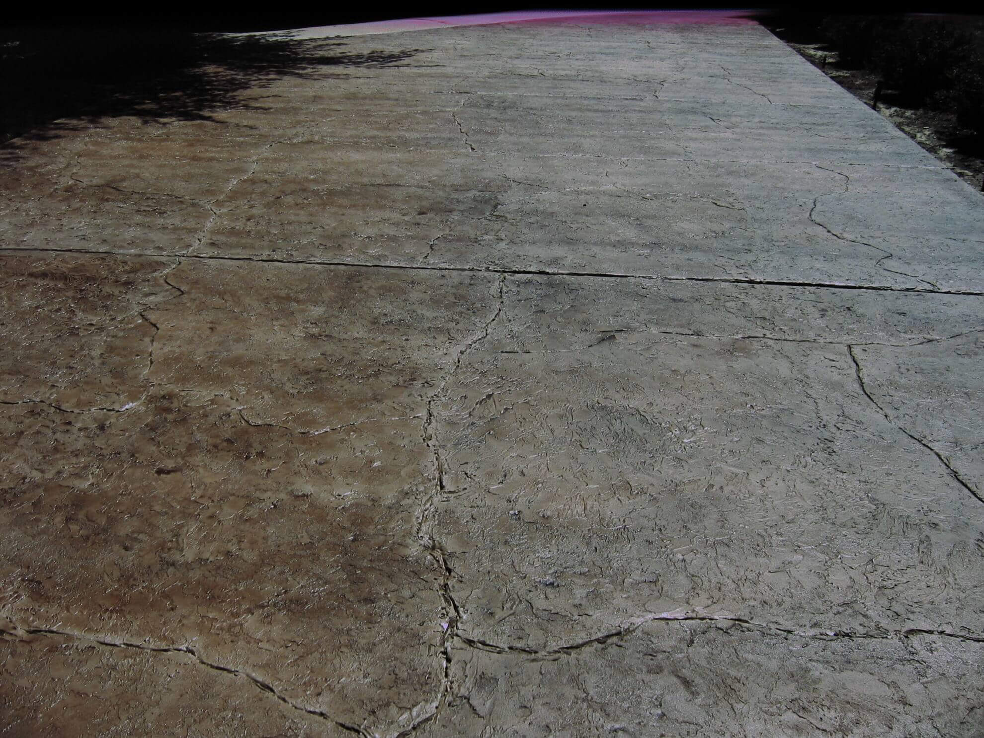 Driveway cracked rock pattern overlay concrete design for Pattern overlay