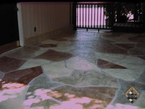 Concrete Patio Red Stone Overlay