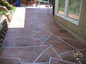 Concrete Patio Stone Pattern Overlay