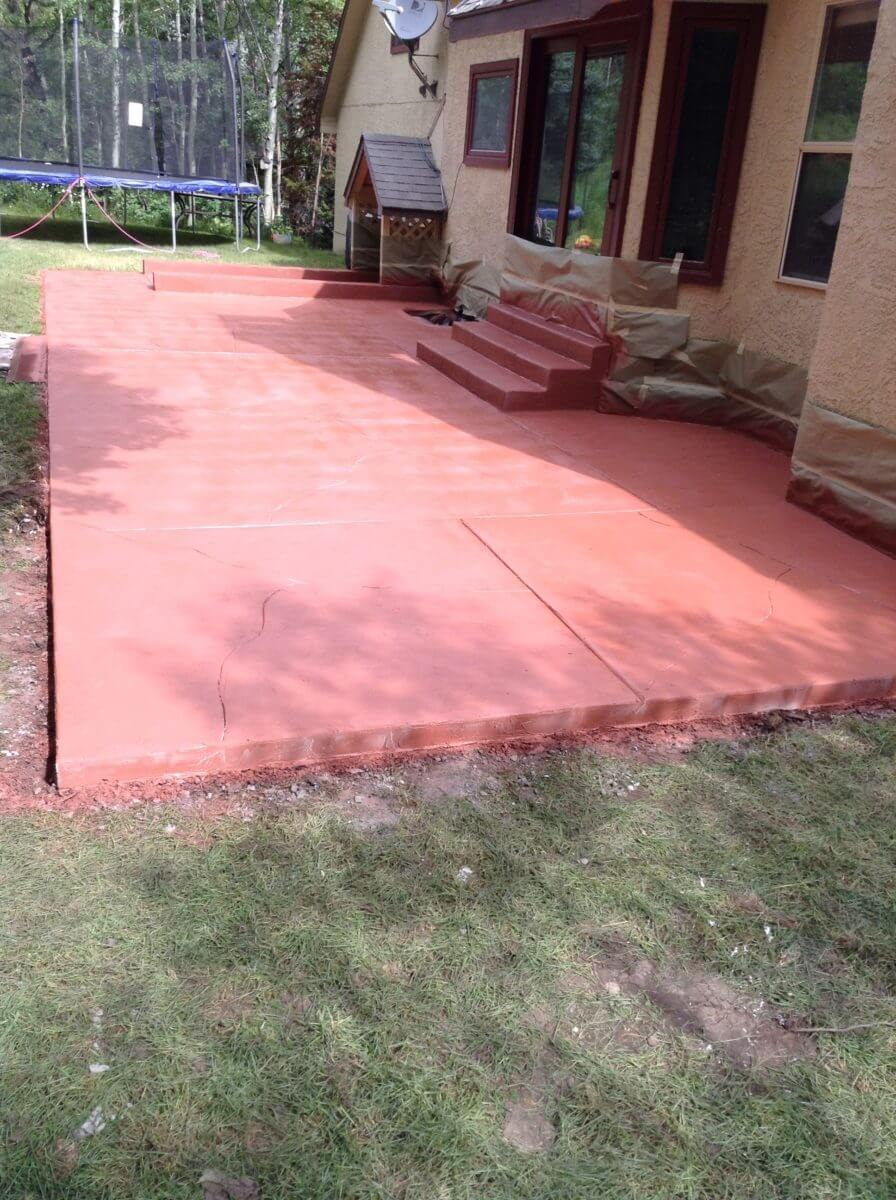 Red Brick Solid Color Stained Patio Concrete Design