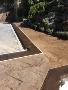 Pool Deck two-tone stain coloring