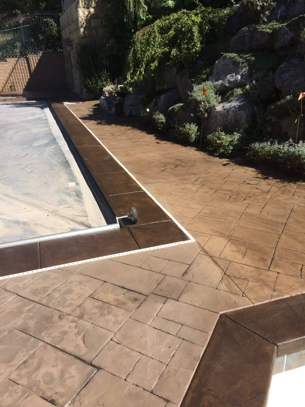 Pool Deck Two Tone Stain Concrete Design Systems Salt