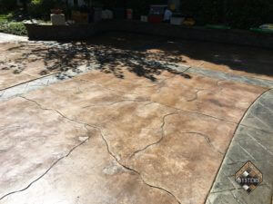 Acid Stained Patio With Crack Pattern