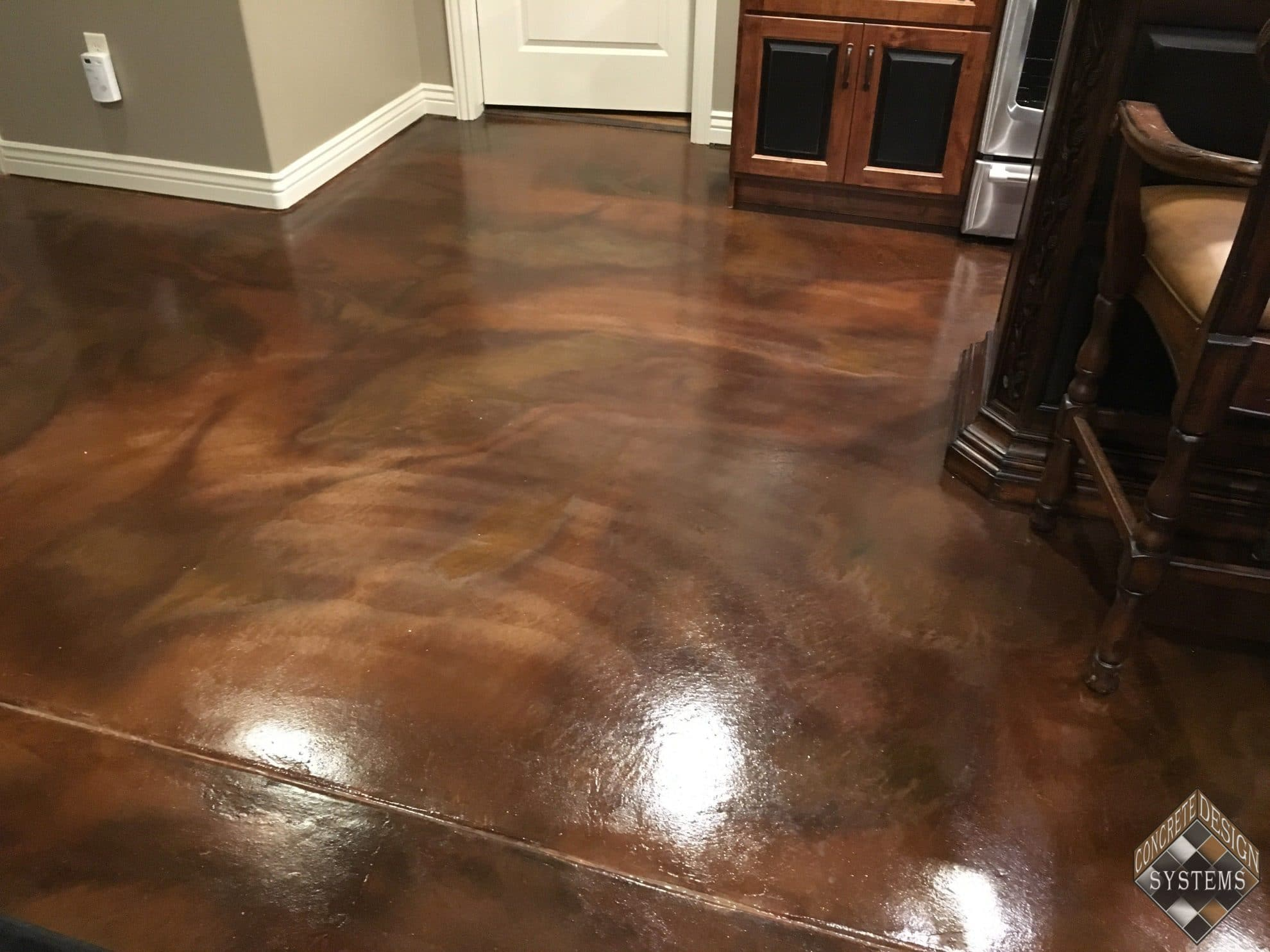 Walnut Amber Acid Stained Basement Floor Concrete Design Systems Salt Lake City Utah