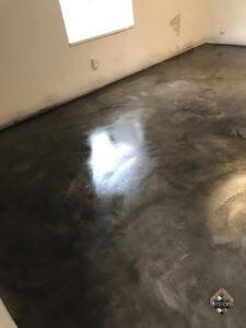 Grout Line Gray Acid Stained Basement Floor